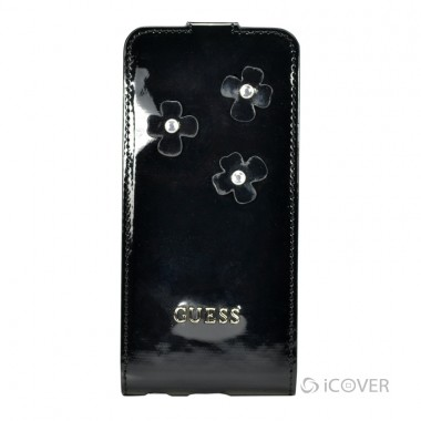 CAPA PARA IPHONE 5S / 5 - GUESS DAISY COLLECTION FLAP CASE  COURO / PU PRETO | GUFLP5FLB