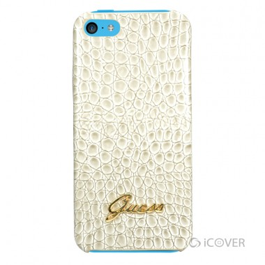 Capa para iPhone 5C - GUESS CROCODILE COLLECTION HARD CASE - Couro / PU Bege | GUPMCRBE