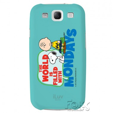 "Capa Samsung Galaxy S III - iLuv Hardshell Snoopy Message Series ""Charlie Brown Hates Mondays"" - ISS258MWBLU"