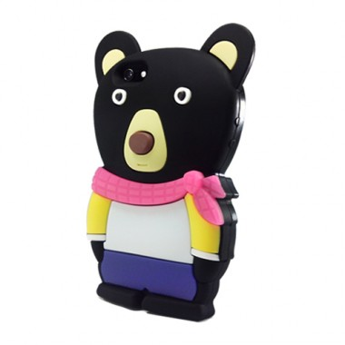 Case iCover Apple Bear para iPhone 5/5S/SE - Silicone Com Relevo Preto -  ICO550PR